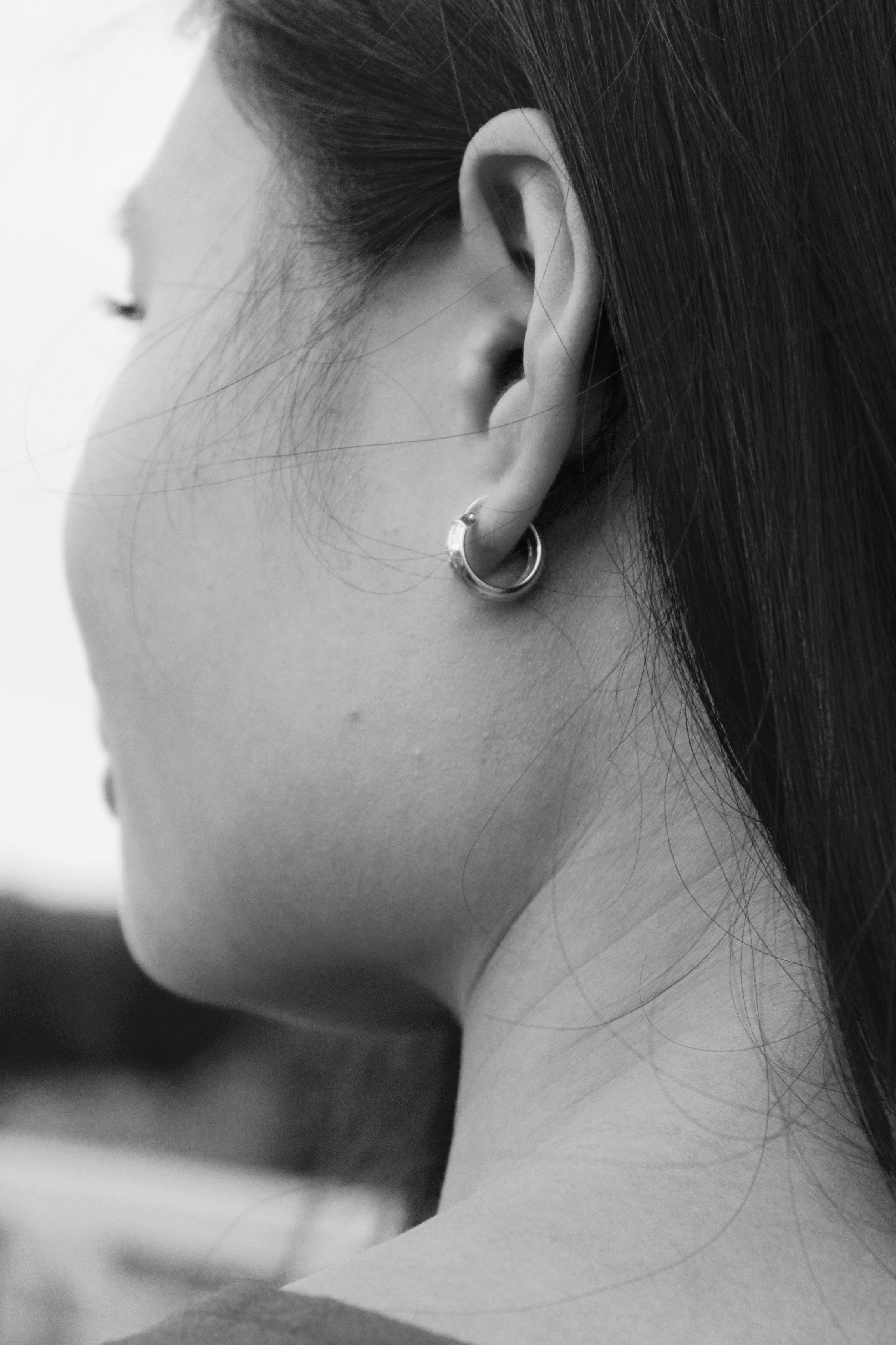 Close-up of woman's ear